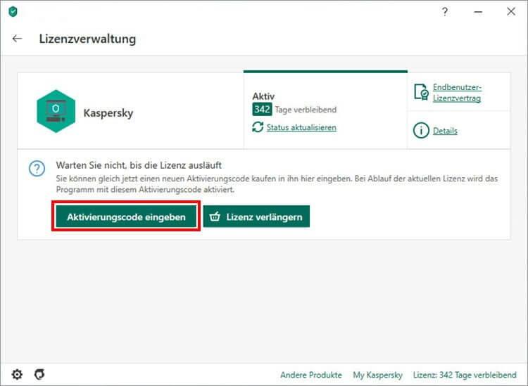 """Das Fenster """"Lizenzverwaltung"""" in KasperskyInternetSecurity"""